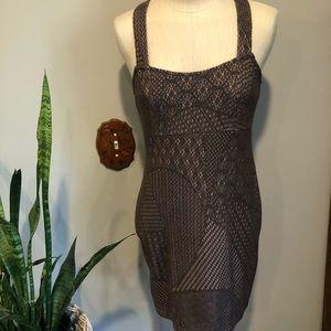 FREE PEOPLE crochet mini dress XS brown